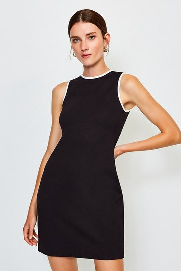 Black Ponte Sleeveless Fitted Dress