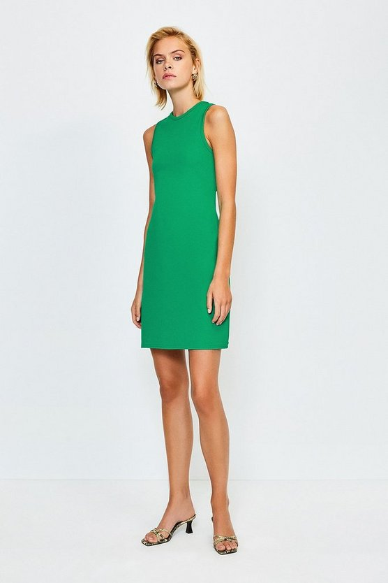 Green Ponte Sleeveless Fitted Dress
