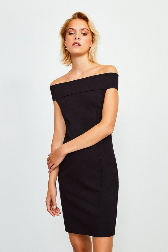 Black Ponte Bardot Zip Back Dress