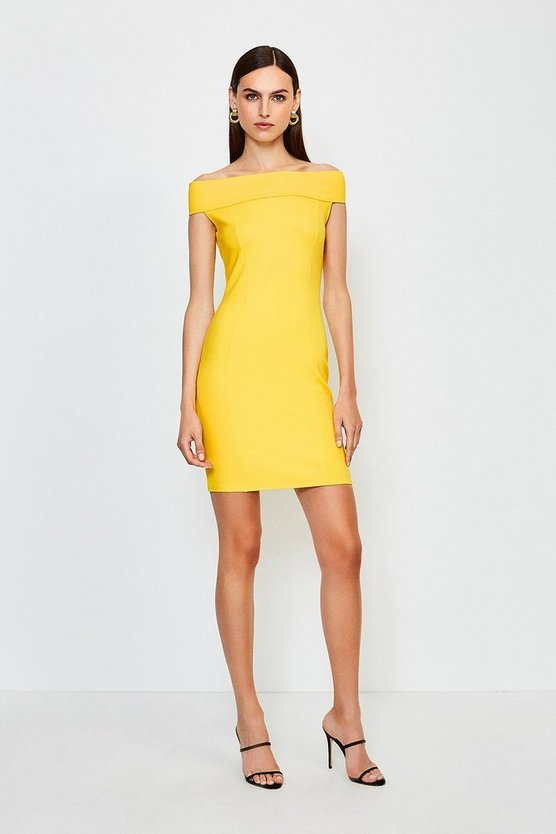 Yellow Ponte Bardot Zip Back Dress