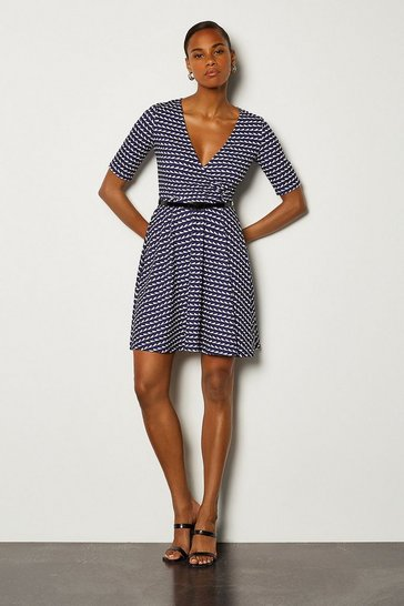 Blue Printed Wrap Short Sleeve Skater Dress With Belt