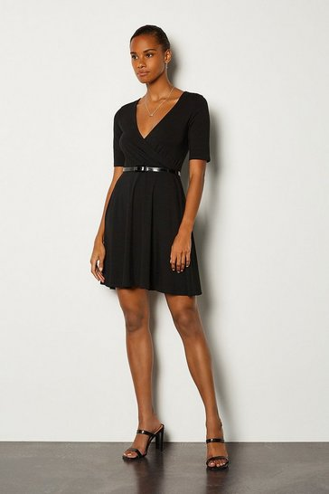 Black Wrap Short Sleeve Skater Dress With Belt