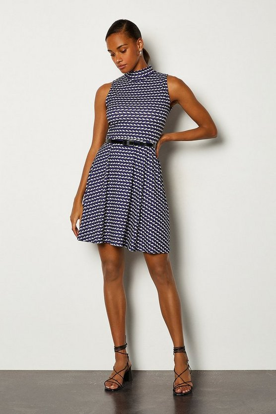 Blue Jersey Funnel Sleeveless Dress With Belt