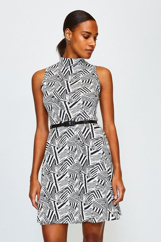 Zebra Jersey Funnel Sleeveless Dress With Belt