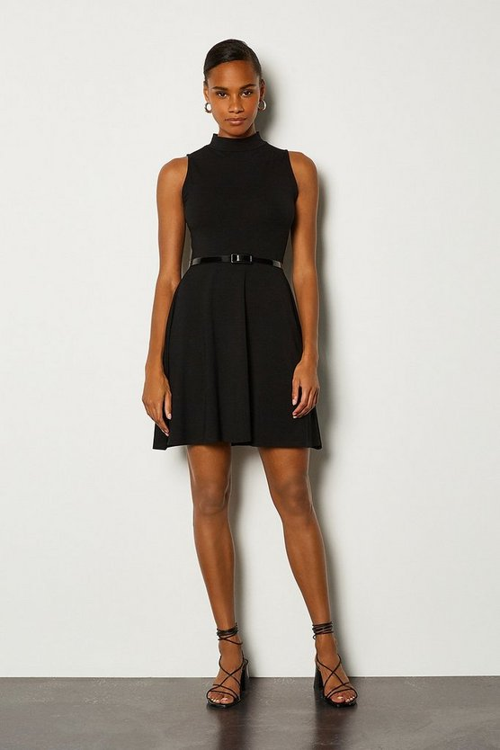 Black Jersey Funnel Sleeveless Dress With Belt