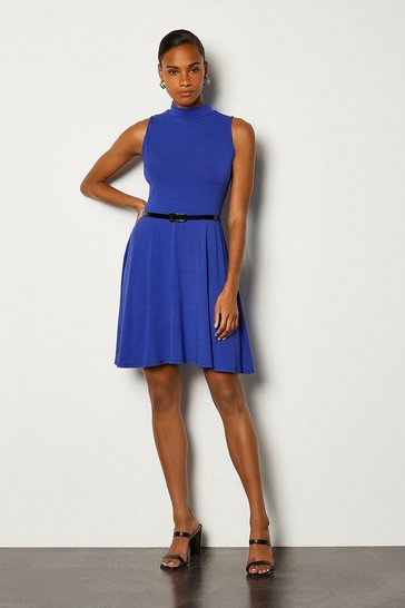Cobalt Jersey Funnel Sleeveless Dress With Belt