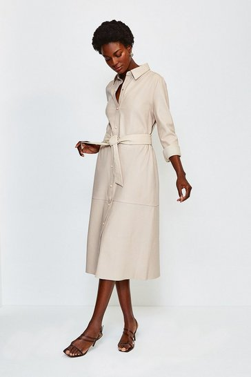 Beige Leather Long Sleeve Shirt Dress
