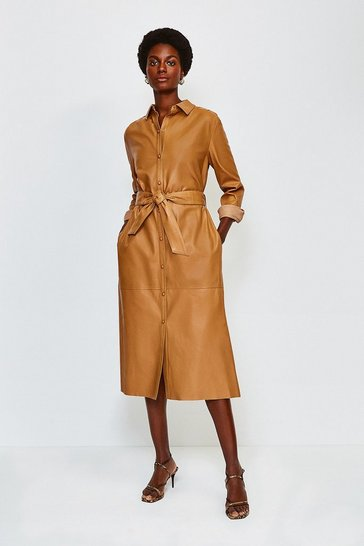 Cashew Leather Long Sleeve Shirt Dress