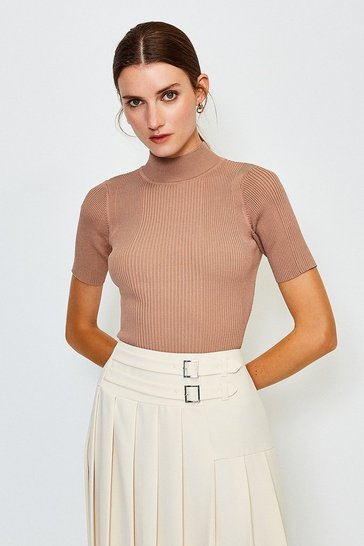 Brown Knitted Rib Funnel Neck Top