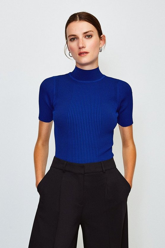 Cobalt Knitted Rib Funnel Neck Top