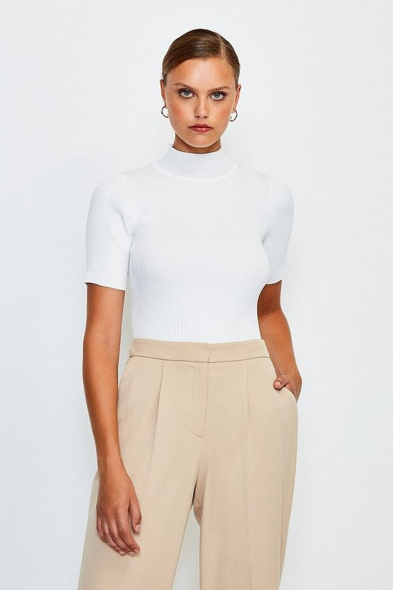Ivory Knitted Rib Funnel Neck Top