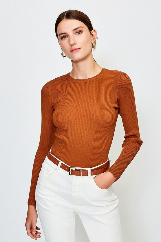 Cashew Knitted Rib Long Sleeve Crew Neck Top