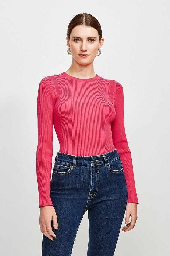 Hot pink Knitted Rib Long Sleeve Crew Neck Top