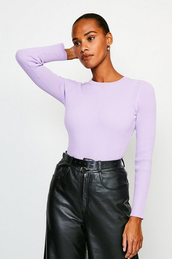 Lilac Knitted Rib Long Sleeve Crew Neck Top
