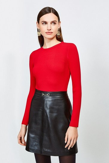 Red Knitted Rib Long Sleeve Crew Neck Top