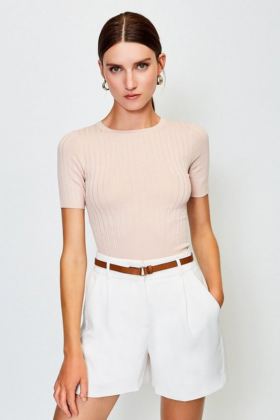 Blush Short Sleeve Knitted Top