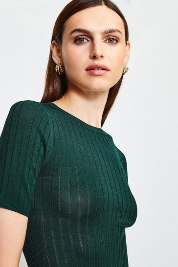 Green Short Sleeve Knitted Top