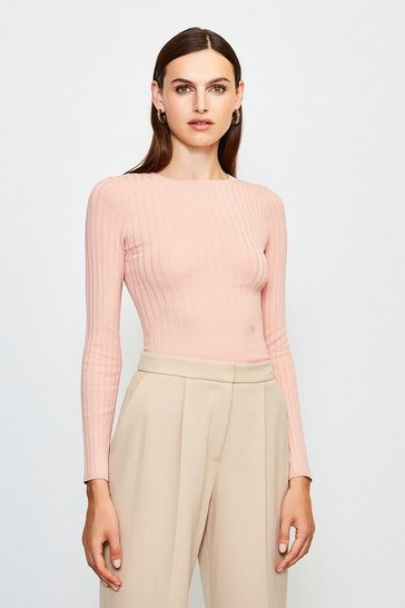 Dusky pink Long Sleeve Knitted Top