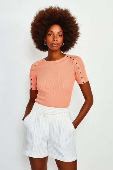 Apricot Rivet Sleeve Knitted Top