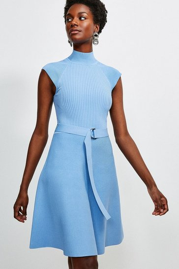 Mid blue High Neck Knitted Skater Dress
