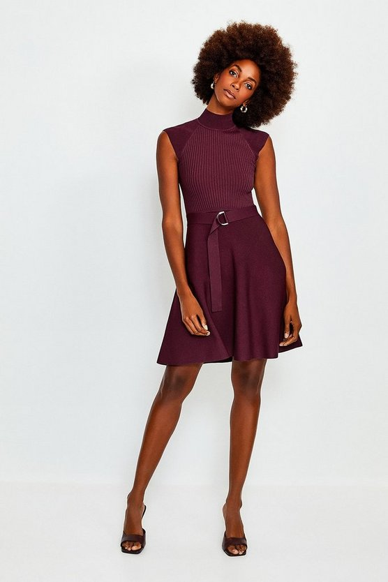 Wine High Neck Knitted Skater Dress