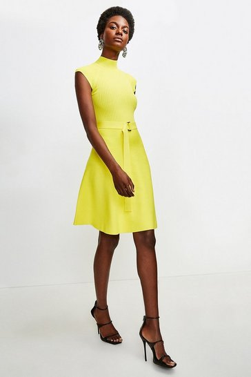 Yellow High Neck Knitted Skater Dress