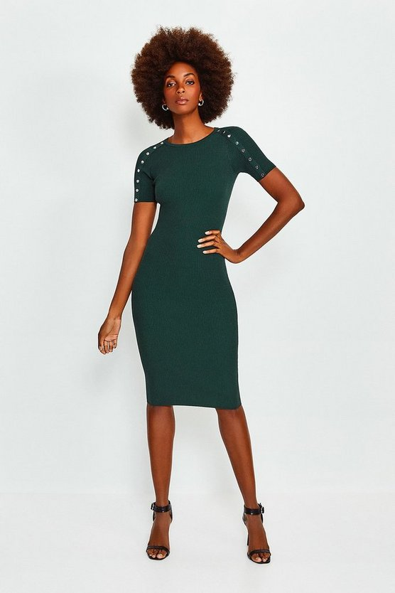 Green Rivet Sleeve Knitted Dress