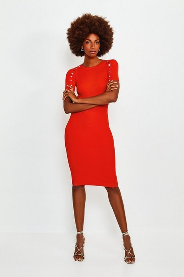 Orange Rivet Sleeve Knitted Dress
