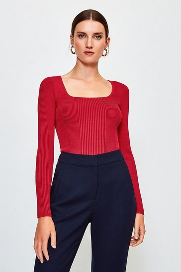 Red Scoop Neck Knitted Top