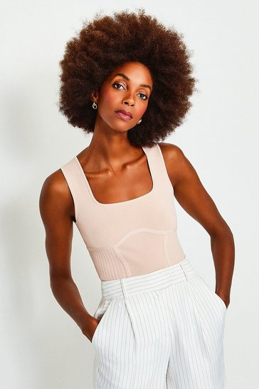 Blush Square Neck Rib Knitted Top