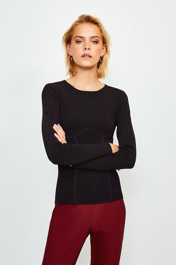Black Long Sleeve Rib Knitted Crew Neck Top