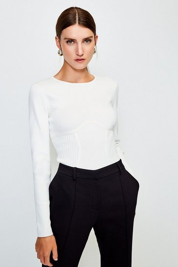 Ivory Long Sleeve Rib Knitted Crew Neck Top