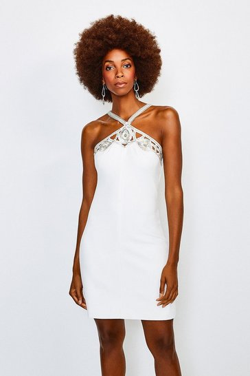 Ivory Diamante Cutwork Mini Dress