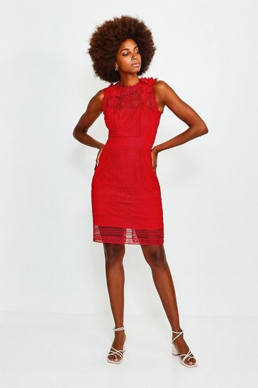 Fire red Chemical Lace Sleeveless Dress
