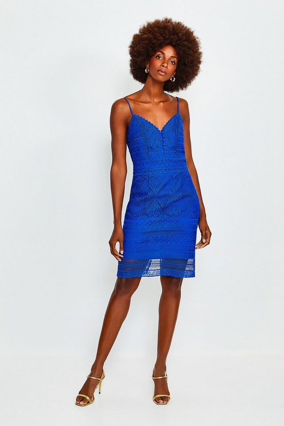 Blue Strappy Chemical Lace Dress