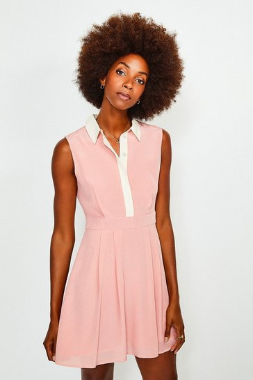 Pink Colour Block Silk Satin Sleeveless Dress