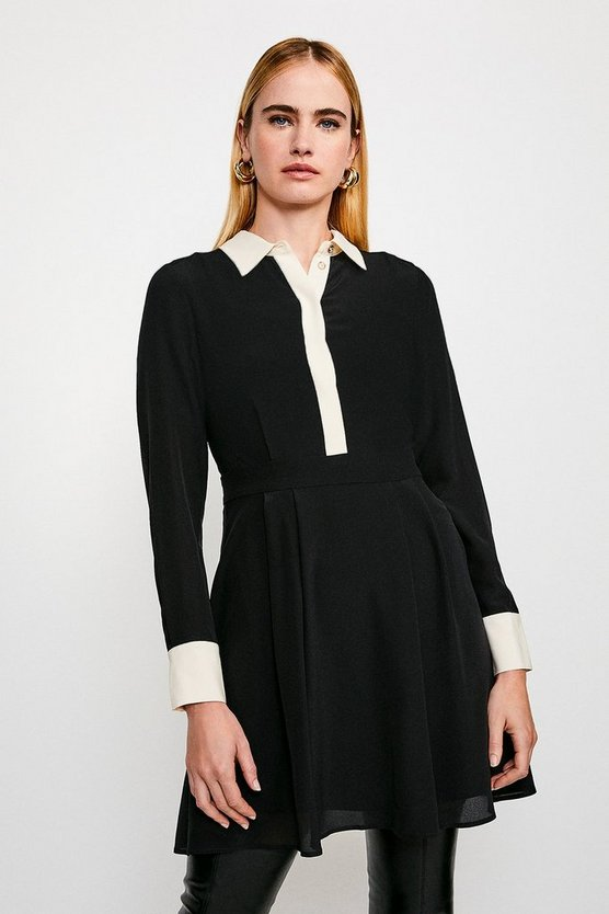 Black Colour Block Silk Satin Long Sleeve Dress