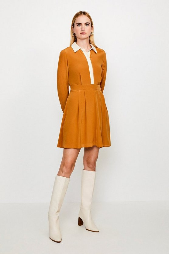 Tan Colour Block Silk Satin Long Sleeve Dress