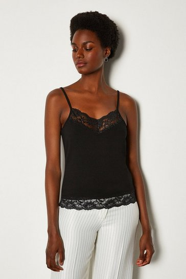Black Viscose Jersey Lace Trim Vest