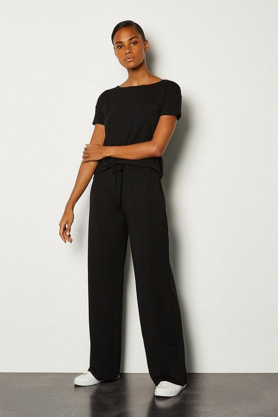 Black Viscose Jersey Lounge Wide Leg Pant
