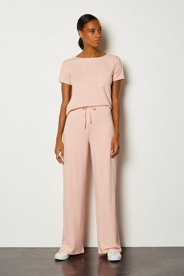 Blush Lounge Jersey Viscose Wide Leg Trouser