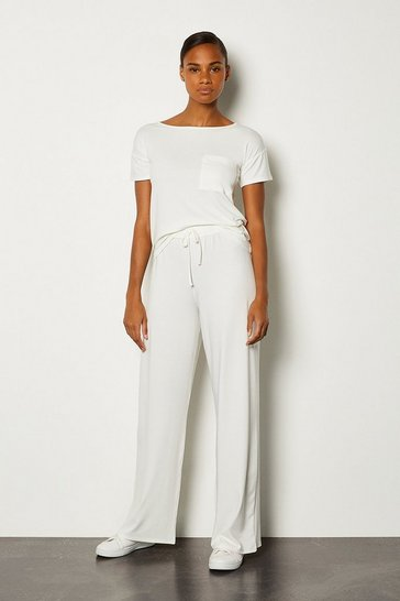 Ivory Lounge Jersey Viscose Wide Leg Trouser