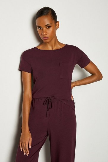Aubergine Viscose Jersey Short Sleeve Lounge T-Shirt