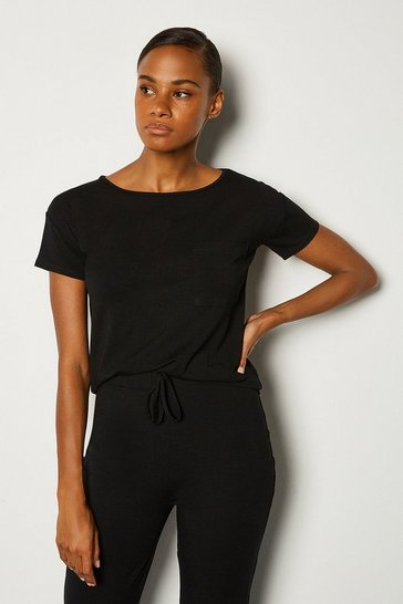 Black Viscose Jersey Short Sleeve Lounge T-Shirt