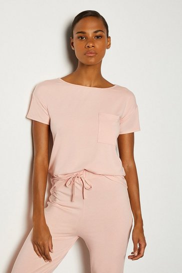 Blush Viscose Jersey Short Sleeve Lounge T-Shirt