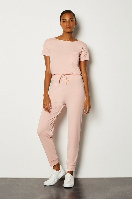 Blush Viscose Jersey Lounge Cuffed Jogger