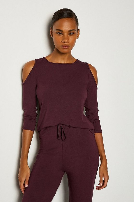 Aubergine Lounge Cold Shoulder Viscose Jersey Top