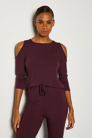 Aubergine Viscose Jeresy Lounge  Cold Shoulder Top