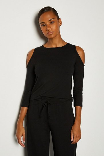 Black Viscose Jeresy Lounge  Cold Shoulder Top