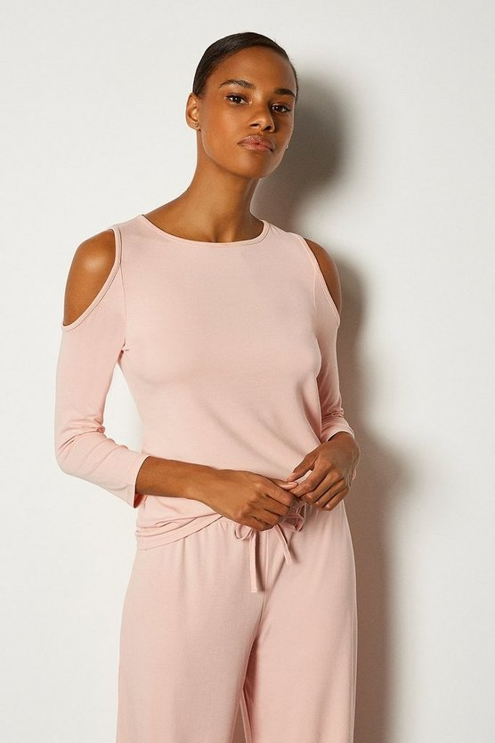 Blush Lounge Cold Shoulder Viscose Jersey Top